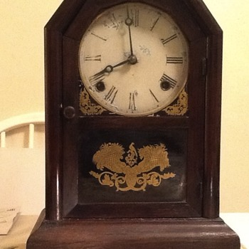 Inside of 8 Day Atkins Clock Co. 1850s mantel clock