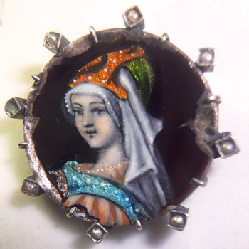 Stunning very old silver (vermeil?) enameled Limoges brooch - Fine Jewelry