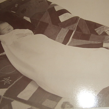 """""""Sleeping"""" baby on crazy quilt cabinet card"""