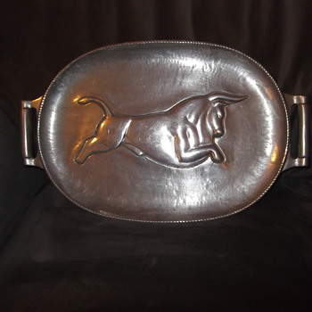 Bruce Fox signed hand wrought aluminum meat tray - Mid-Century Modern