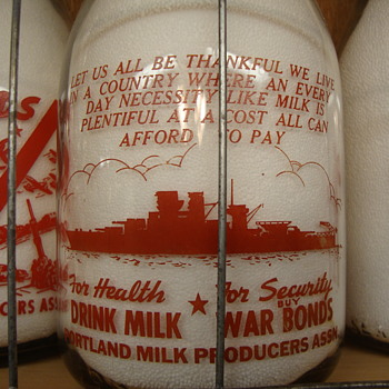 PORTLAND MILK PRODUCERS ASSOCIATION...PORTLAND OREGON WAR SLOGAN MILK BOTTLE - Bottles