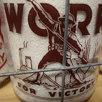 MESSNER DAIRY...ALLENTOWN PENNSYLVANIA QUART MAROON WAR SLOGAN MILK BOTTLE - Bottles