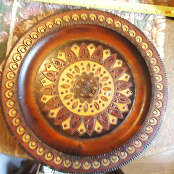 Wood Plate!  From?  maybe Mars or Venus?? joking will research someday - Folk Art