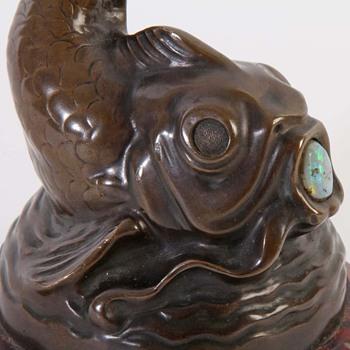 Jugendstil Asian Aquatic Themed Bronze w/ Cabochon Opal & Ruby Marble Base - Art Nouveau