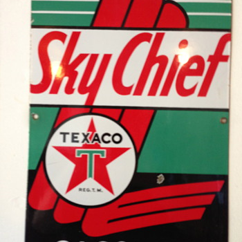 Texaco Sky Chief Porcelain Pump Sign - Petroliana