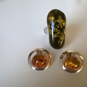 Spangle Amber & Sterling Silver Ring + Sterling Silver & Amber Earrings, Thrift Shop Find $2.50