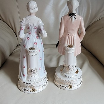 """Vintage 11"""" tall Rococo style porcelain figures  - Figurines"""