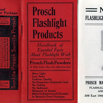 Prosch Flashlight Products Handbook & Letter, 1914 - Cameras