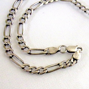 Silver Figaro Necklace from Italy with unknown Hallmark