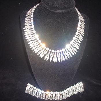 Large Sparkling Crystal SHERMAN Necklace and matching Bracelet - Costume Jewelry