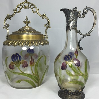 WMF acid etched biscuit barrel and claret jug. Hosch 1906-1912? - Art Glass