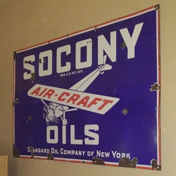 Porcelain Socony Aircraft Oils Sign - Signs