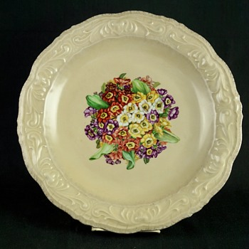 Large Porcelain Plate - Hand Painted Flowers - China and Dinnerware