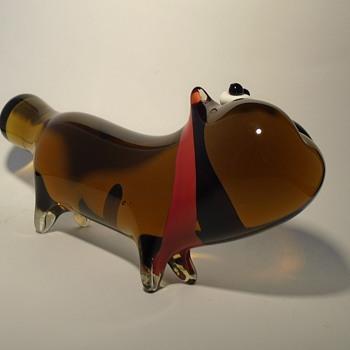 Jan Exnar whimsical art glass dog from 1995 -- Beranek glassworks -- Czech art glass - Animals