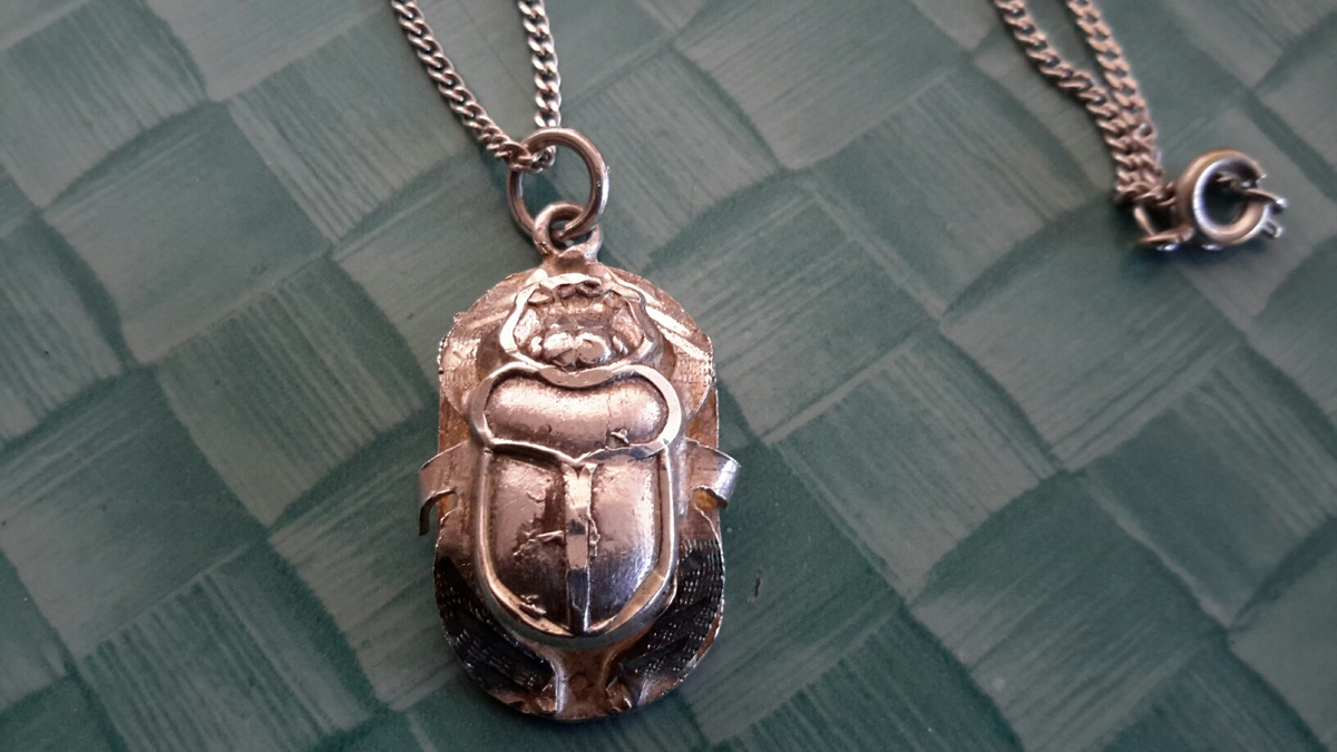 Silver scarab pendant on silver chain collectors weekly aloadofball Gallery