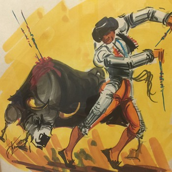 Bullfighter and matador vintage watercolors unknown artist can you help  - Fine Art