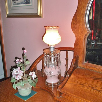 Beautiful pink frosted glass boudoir lamps with crystals......1940's - Lamps