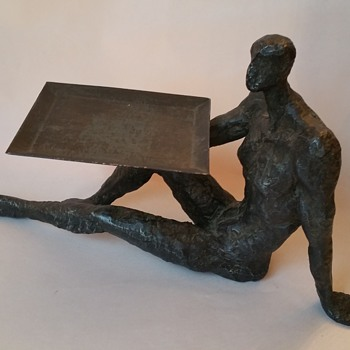 "Iron Nude Sculpted Man Holding Tray ""Need Help ID""  - Fine Art"