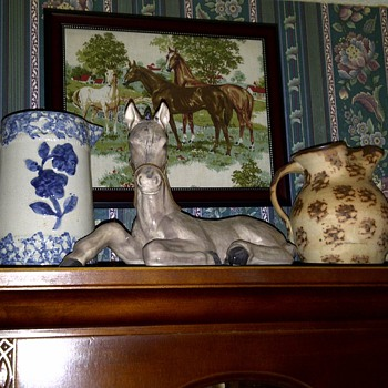 Late 1800's Buttermilk pitcher and 1930,s Cats Paw pitcher  - Pottery