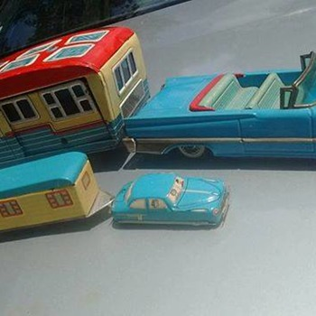 Japanese tin toy cars with trailers!!! 1950's/60's... - Toys