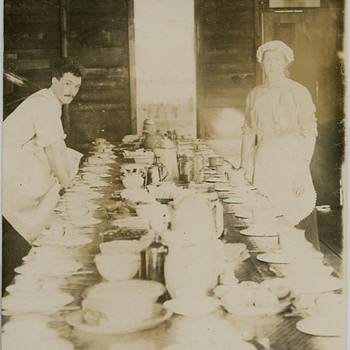 Lumbermans camp dining table 1916 Northern Wis.  - Photographs