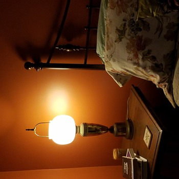Lamp with glass shade AND exposed harp