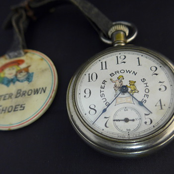 1910 Buster Brown Shoes Pocket Watch and Watch Fob - Pocket Watches