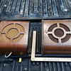 pair (almost) of old bentwood public address speakers