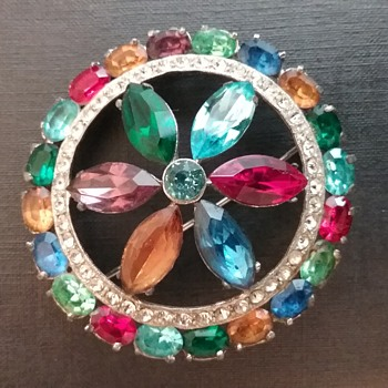Joseph Wiesner wheel brooch  - Costume Jewelry