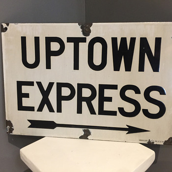 NYC Subway Uptown Express porcelain sign - Signs