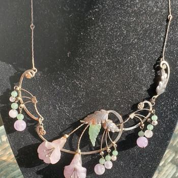 Period Silver & Jadeite jade  Necklace  - Fine Jewelry