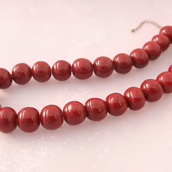 Cherry Red Glazed Ceramic Beads Necklace - Costume Jewelry