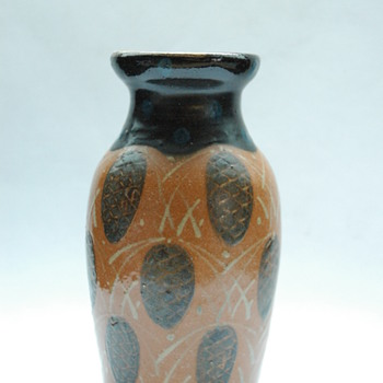 art nouveau pottery vase with pinecone pattern by LEON ELCHINGER circa 1910 - Pottery