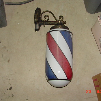 Koch #47 barber pole wall light and Koken #140 stained glass b-pole - Advertising