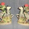 (Staffordshire Porcelain?) Zebra and Snake Spill Vases