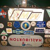 Briefcase with vintage oil stickers
