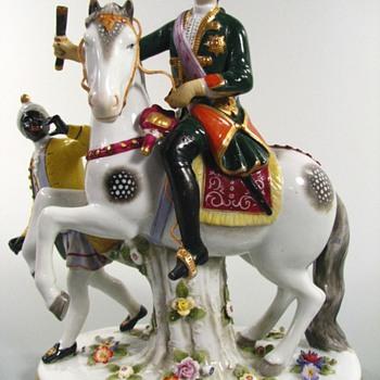 Antique Frankenthal Empress Elizabeth on Horseback Figurine - Figurines