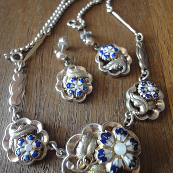 Charming vermeil Biedermeier necklace and earrings - Fine Jewelry
