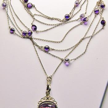 "Antique Victorian Amethyst Muff Chain 900 Silver Necklace 64""  - Fine Jewelry"