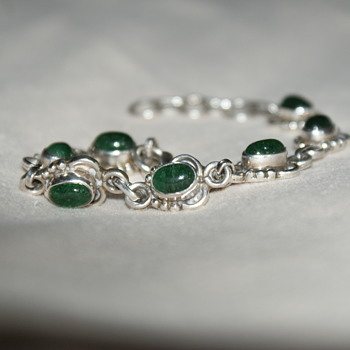 Sterling Silver Bracelet with Green Stones - Fine Jewelry