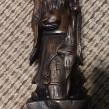 Wooden hand carved Asian statue - Asian