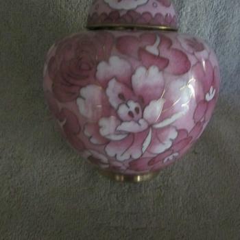 Chinese Cloisonne Enamel lock turn Lidded Ginger Jar Unique Design - Asian