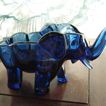 Blue Glass Elephant - Art Glass