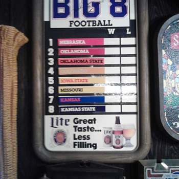 Big 8 Football sign Lite Beer