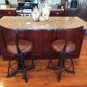 4 Early 1900's Vintage Industrial Switchbord Operator Swivel Stool Chairs