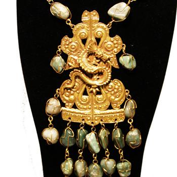 Vintage Accessocraft N.Y.C. Dragon Breastplate with Aventurine Drops