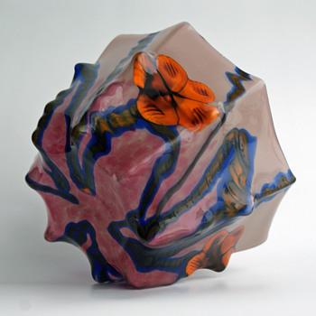 RARE- Kralik Grand Marquetry bowl - Art Glass