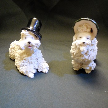 Vintage Bride & Groom Spaghetti Pottery Poodles  - Figurines