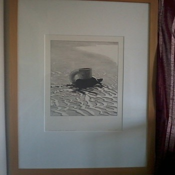 """KEN PRICE, bold Sketch, """"Turtle Cup on Wet Sand"""", signed and dated 1969 - Posters and Prints"""