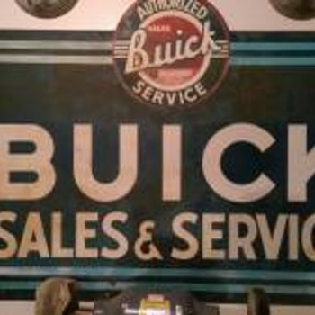Early 1950s Buick Sales & Service Double Sided Porcelain Dealership Sign  - Signs